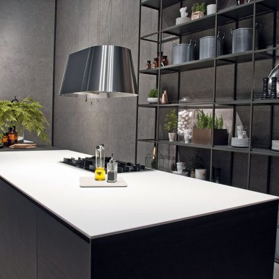 Kitchen design in monochrome by Ceralsio using ceramic worktops.