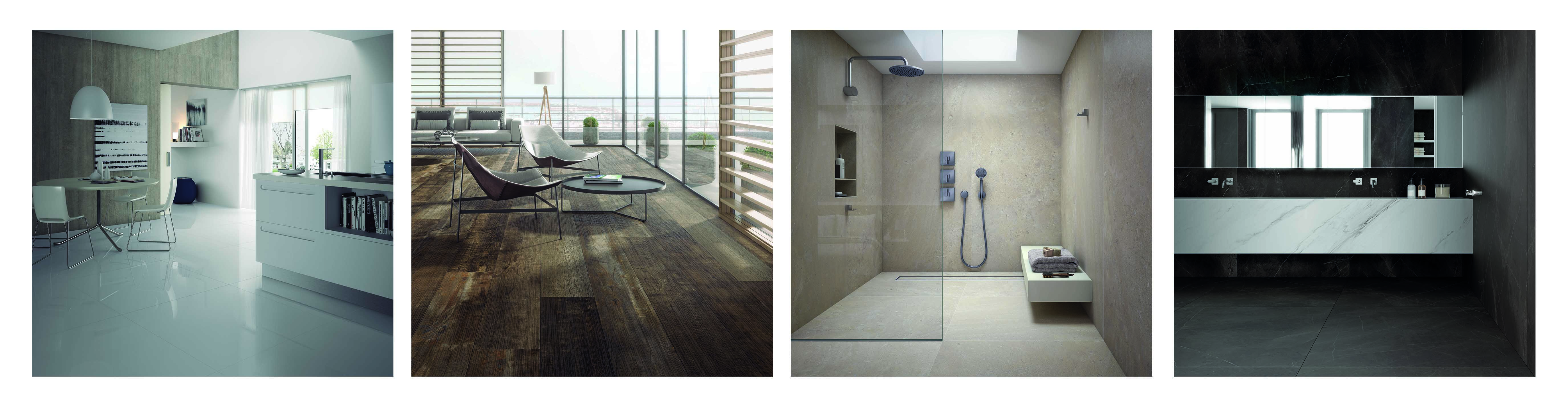 4 Images side by side showing different applications for Ceralsio Porcelain products
