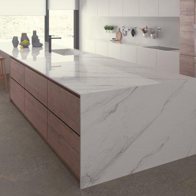 Calacatta Gris Polished Porcelain Worktop from Ceralsio in a bright kitchen.