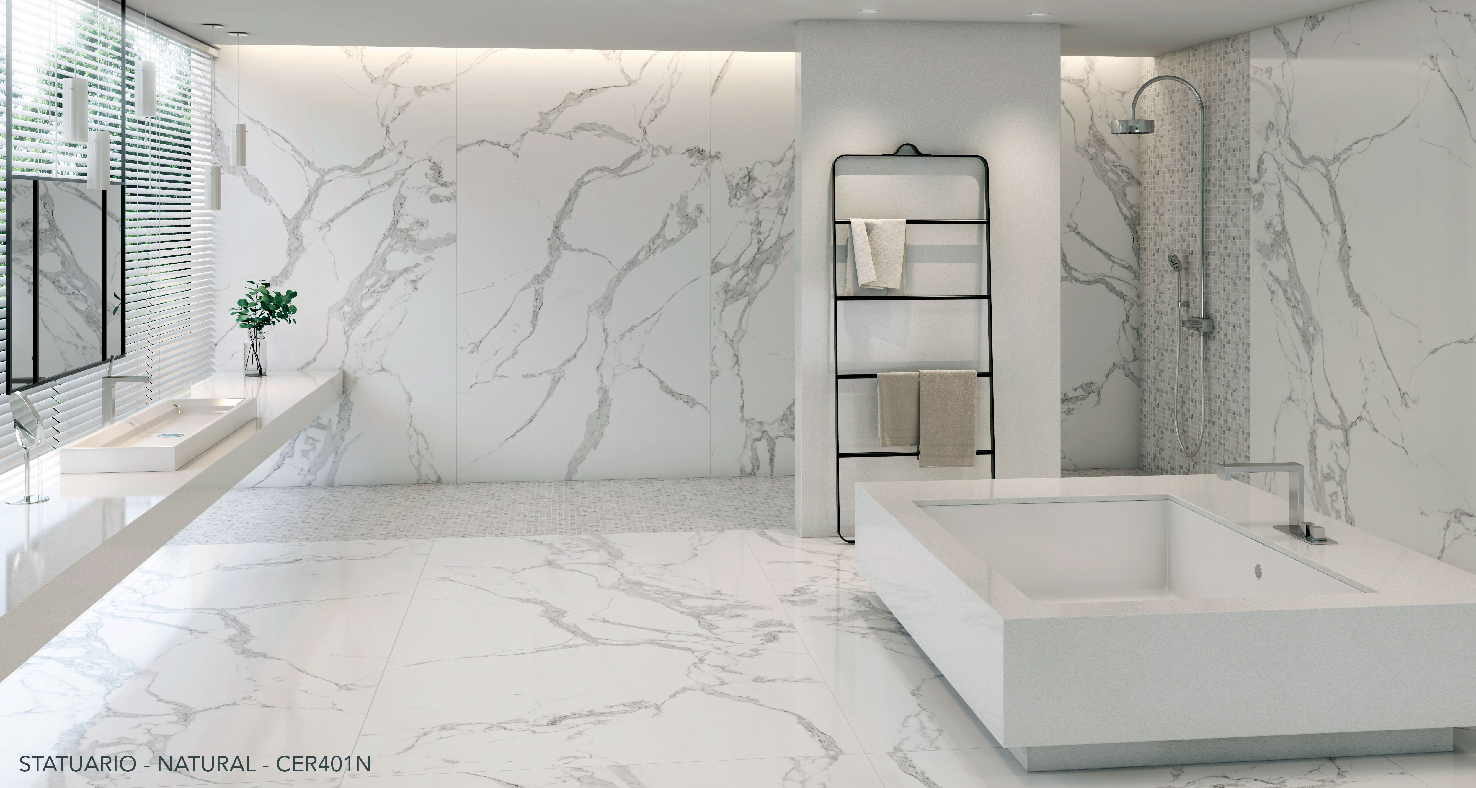 Ceralsio Statuario white Bathroom floor and wall tiles