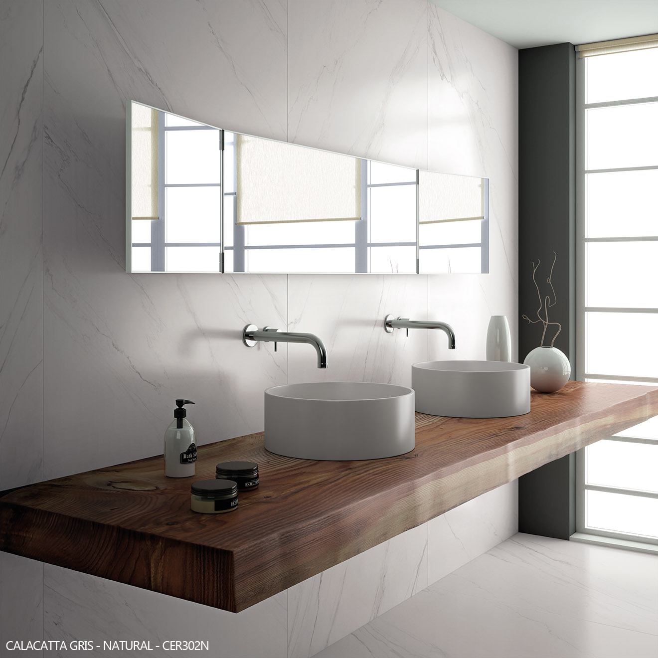 Ceralsio Calacatta Gris white vein floor and wall tiles with his and hers sink