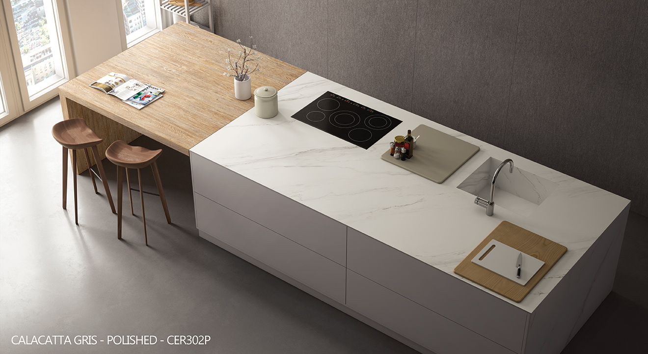 Ceralsio Calacatta Gris island worktop with wooden breakfast bar
