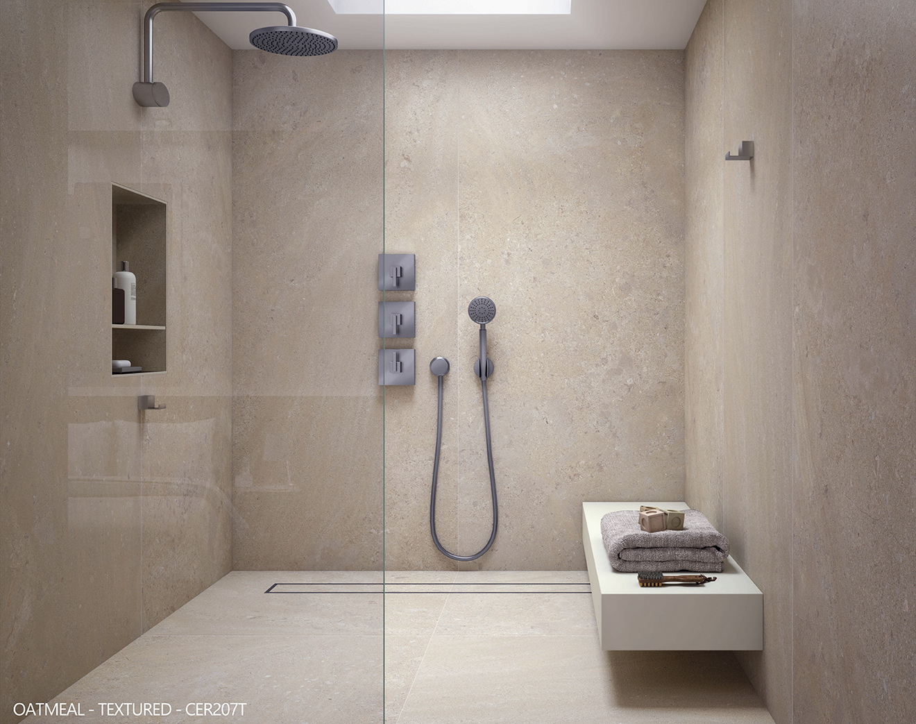 ceralsio oatmeal shower floor and wall tiles