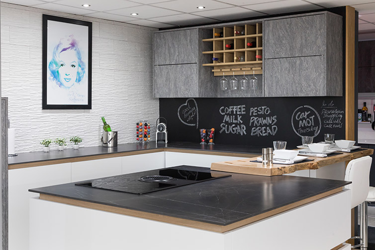 Ceralsio Marquina kitchen island and worktop with blackboard splash back