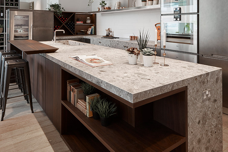 Ceralsio Ocean Stone worktop in open-plan kitchen