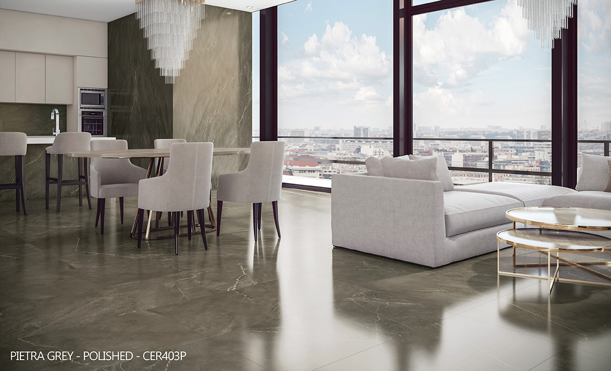 Ceralsio Pietra Grey polished floor and wall tiles city centre apartment