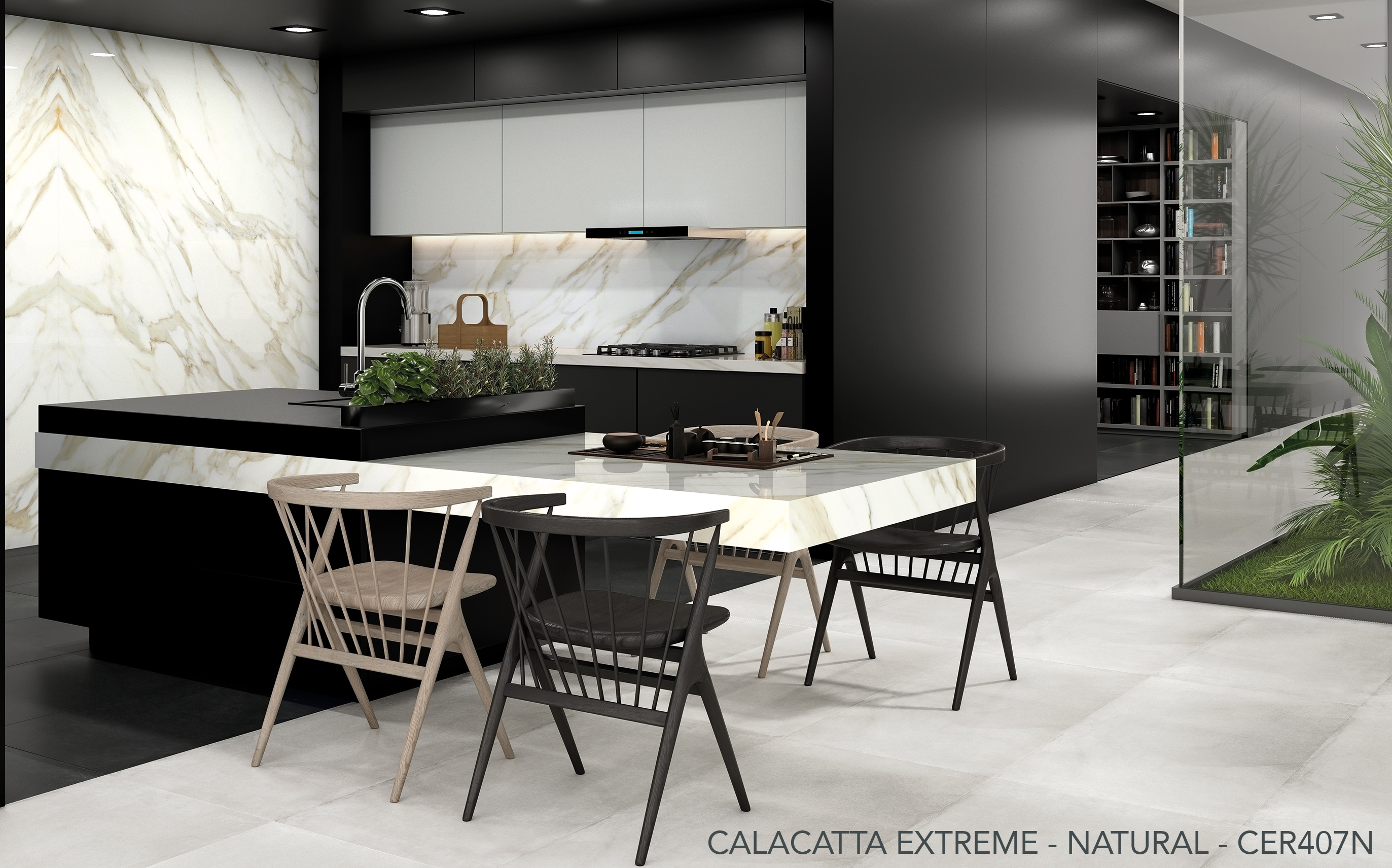 Ceralsio Calacatta Extreme table and wall tiles