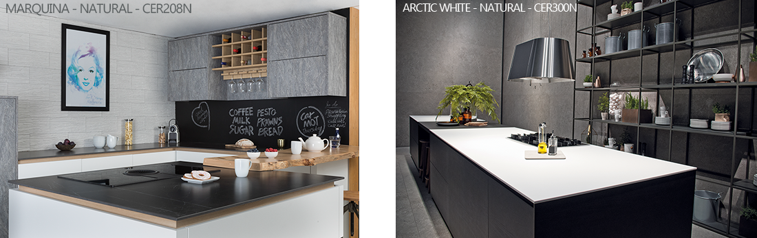 Ceralsio Arctic White and Marquina worktops