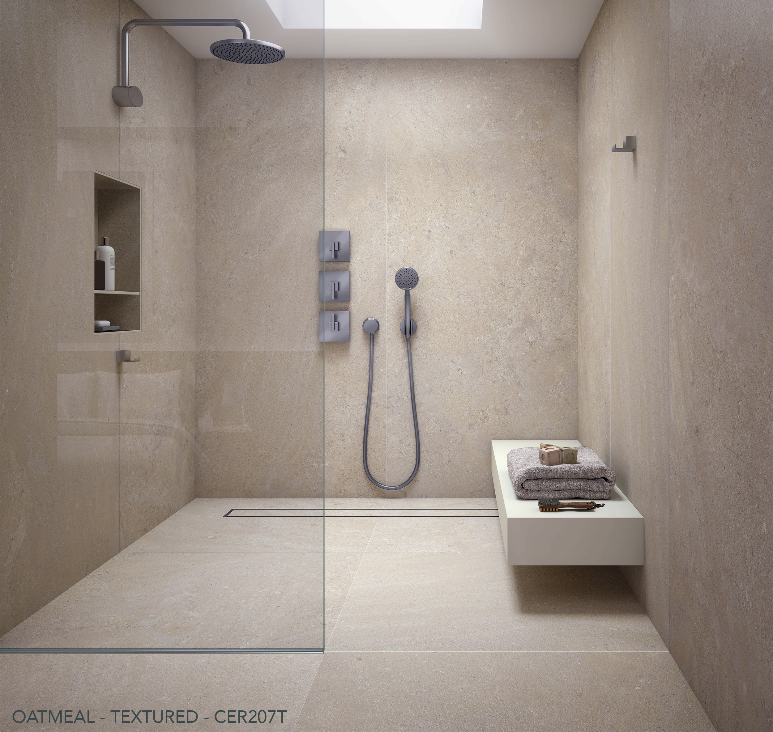 Ceralsio Oatmeal textured shower floor and wall tiles