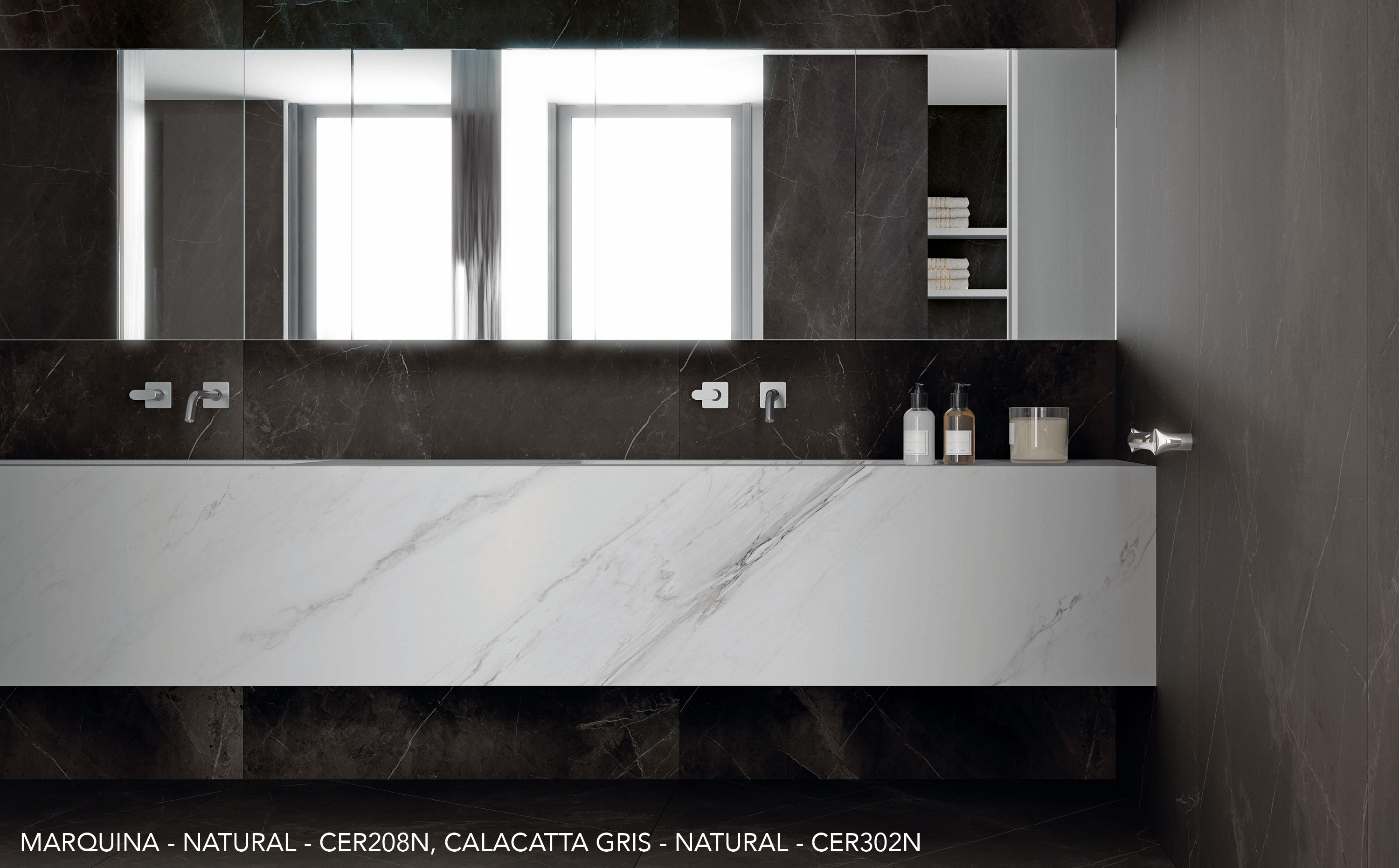 Marquina and calacatta Gris bathroom