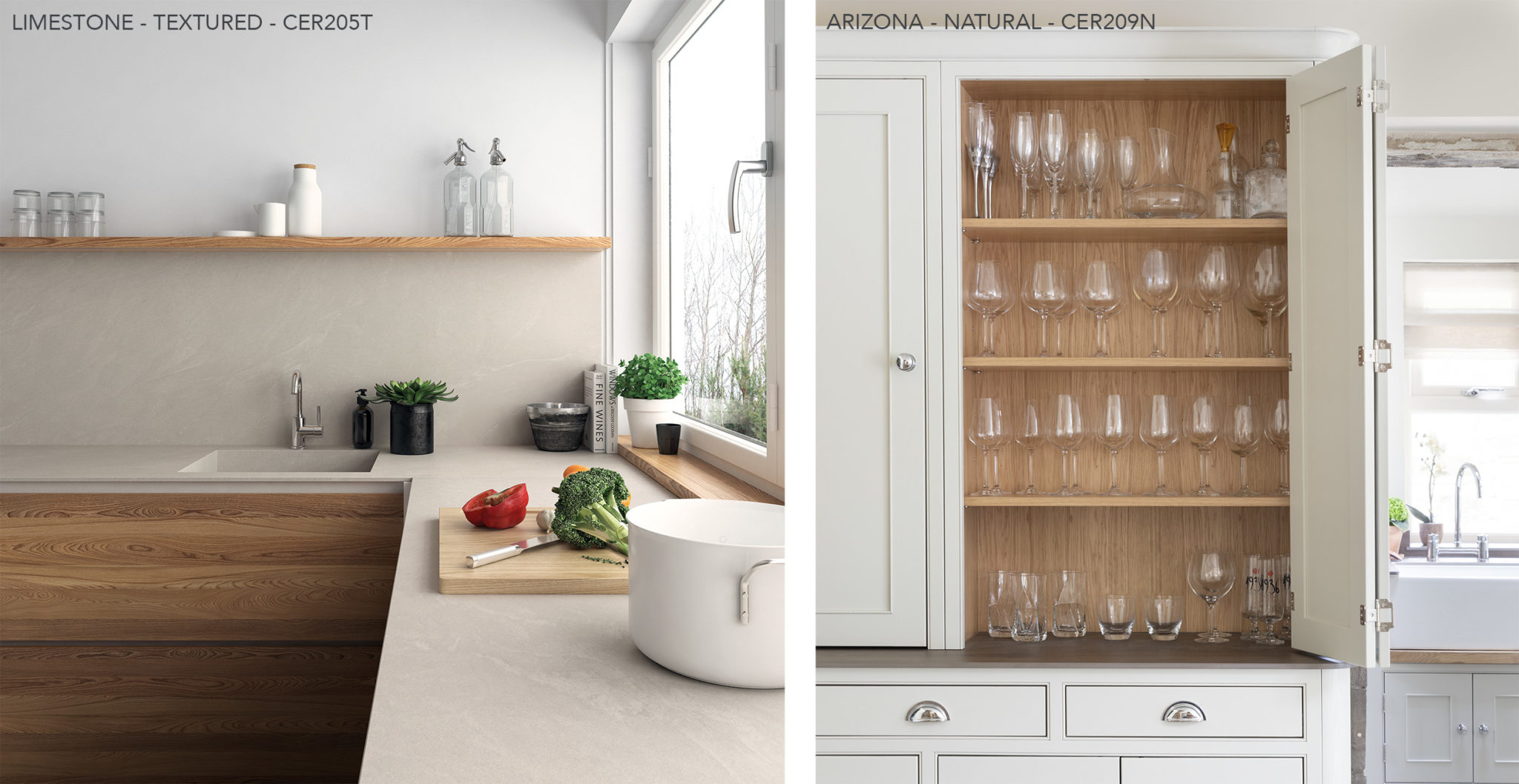 kitchens with Ceralsio Limestonw and Aruziba worktops