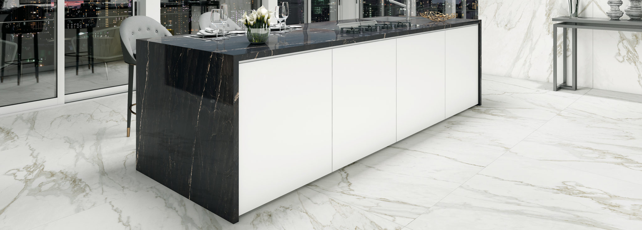 Kitchen island Belvedere Black Polished worktop