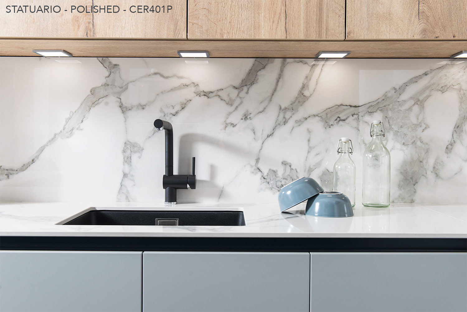 Ceralsio marble inspires Statuario kitchen worktop