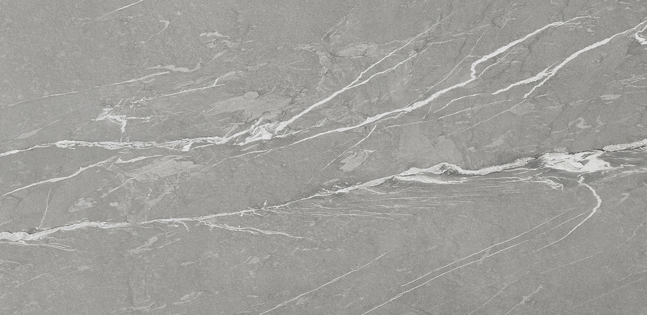 Ceralsio cermaic surface Cardoso Grey with a grey background and white veining