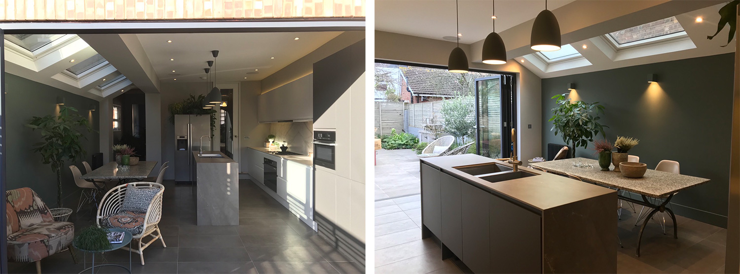 Kitchen with Ceralsio Pietra Grey & Carrara Vagli worktops
