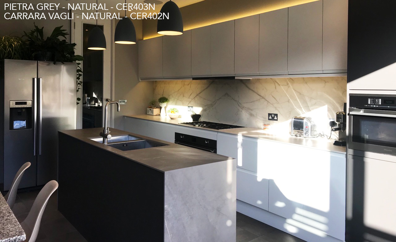 Ceralsio Pietra Grey and Carrara Vagli surfaces in contemporary kitchen